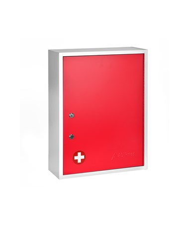 AdirMed Large Steel Medication Cabinet, Dual Lock - Red
