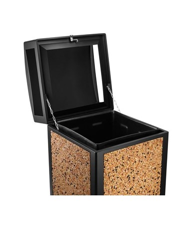 Alpine Rugged 40-Gallon All-Weather Trash Container ALP471-40-SIL- with stone decorative panels
