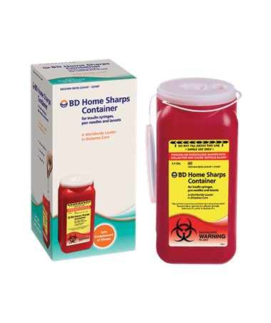 Home 1.4 Qt Sharps Container with Snap Cap, 12 per Case BD323487