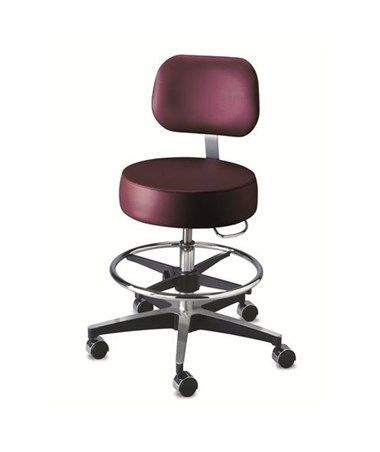 """Brewer 11001BFR Century Exam Stool with Back Rest and Foot Ring"""