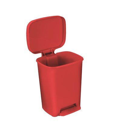 """Brewer 25270 Rectangular Plastic Waste Cans, 32 quart, Red"""