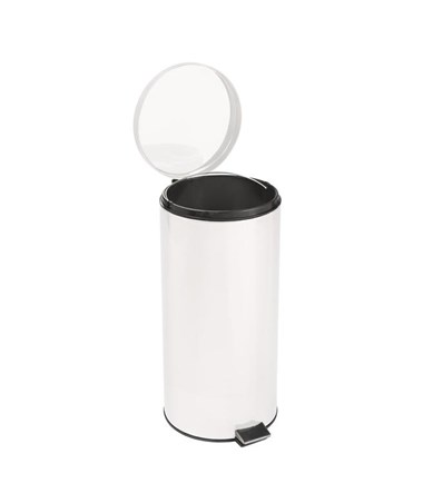 Round Steel Waste Can (White) BRE45266