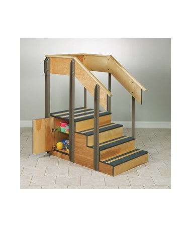 Clinton Industries Staircase Storage Island, 4-8010 with open door