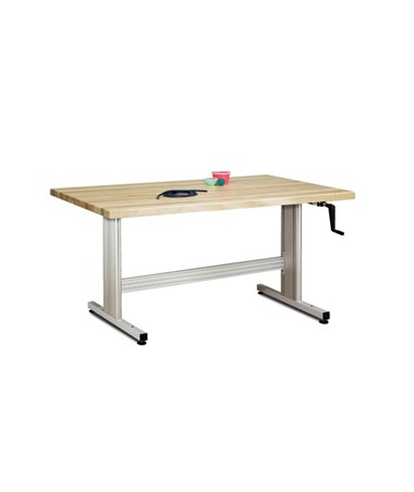 Maple Butcher Block Work Activity Table with Hand Crank Height Adjustment CLI77-45CM-