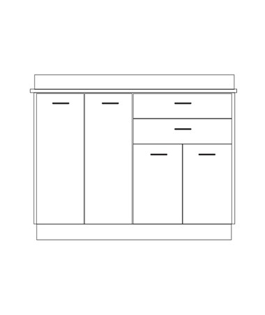 Clintonclean™ Base Cabinet with 4 Doors & 2 Drawers CLI8036-P