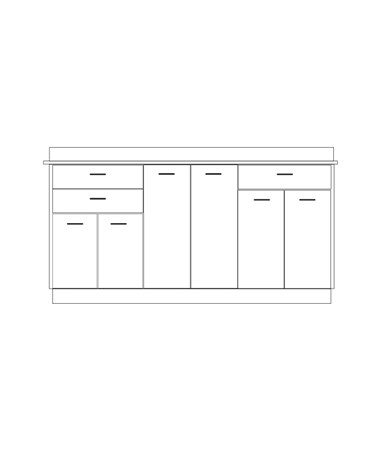 Clintonclean™ Base Cabinet with 6 Doors & 3 Drawers CLI8072-P