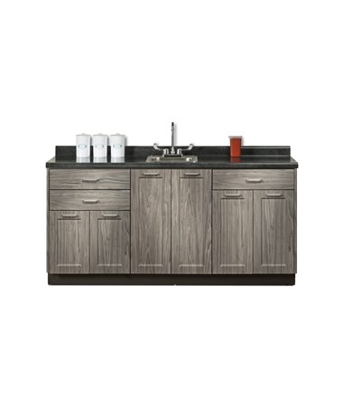 "Fashion Finish 72"" Base Cabinet - 6 Doors, 3 Drawers and Sink CLI8672-72P-"