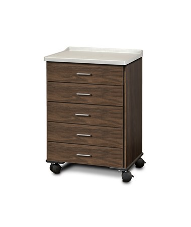 ashion Finish Mobile Treatment Cabinet w/ Molded Top - 5 Drawers, Chestnut Hill