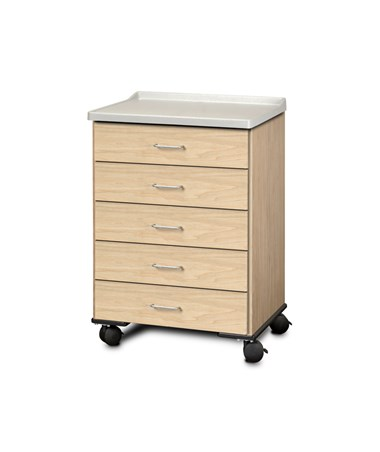 ashion Finish Mobile Treatment Cabinet w/ Molded Top - 5 Drawers, Sunlight Oak