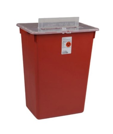 "Container, 10 Gal, Red, Split Lid, Sharps Port, Large Volume, 15½""H x 12""D x 21½""W, 6/cs (15 cs/plt) (Continental US Only)"