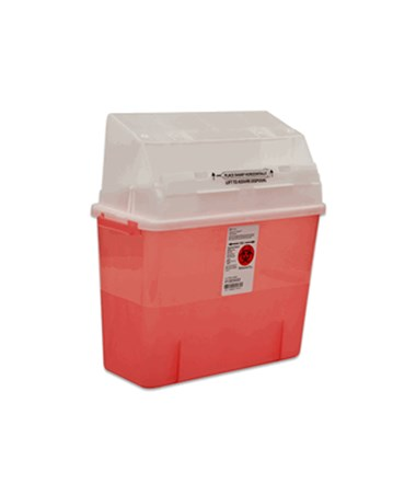 "Sharps Container, Translucent Red, 5 Qt, Junior, 14""H x 6""D x 13""W, 14/cs (15 cs/plt) (Continental US Only)"