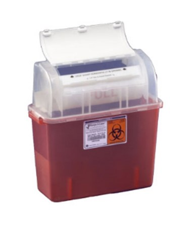 "Sharps Container, 2 Gal, Translucent Red, 17½""H x 6""D x 17""W, 12/cs (Continental US Only)"