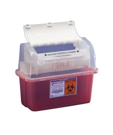 "Sharps Container, 3 Gal, Translucent Red, 20½""H x 6""D x 14""W, 12/cs (Continental US Only)"