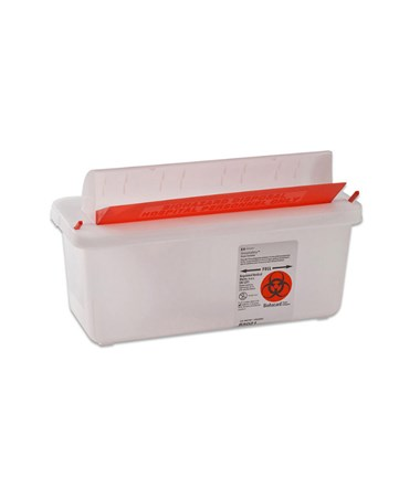 Sharps Container, Clear, Mailbox-Style Lid, 2 Qt, 20/cs (25 cs/plt) (Continental US Only)