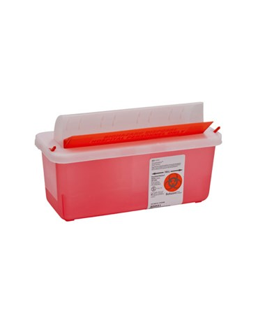 Sharps Container, Transparent Red, Mailbox-Style Lid, 2 Qt, 20/cs (Continental US Only)