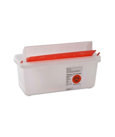"Sharps Container, Clear, Mailbox-Style Lid, 5 Qt, 11""H x 4¾""D x 10¾""W, 20/cs (25 cs/plt) (Continental US Only)"