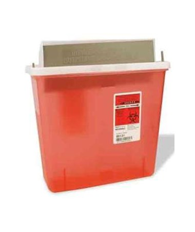 Sharps Container, Mailbox-Style Lid, 5 Qt, Transparent Red, 20/cs (30 cs/plt) (Continental US Only)