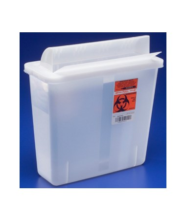"Sharps Container, Always-Open Lid, 5 Qt, Clear, 11""H x 4¾""D x 10¾""W, 20/cs (Continental US Only)"