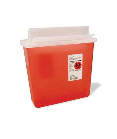 "Sharps Container, Always-Open Lid, 5 Qt, Transparent Red, 11""H x 4¾""D x 10¾""W, 20/cs (15 cs/plt) (Continental US Only)"