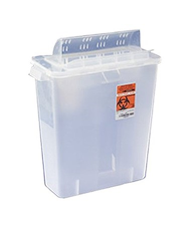 "Sharps Container, Always-Open Lid, 12 Qt, Clear, 16¼""H x 6""D x 13¾""W, 10/cs (18 cs/plt) (Continental US Only)"
