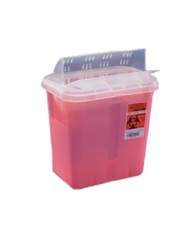 "Sharps Container, Always-Open Lid, 12 Qt, Transparent Red, 16¼""H x 6""D x 13¾""W, 10/cs (Continental US Only)"