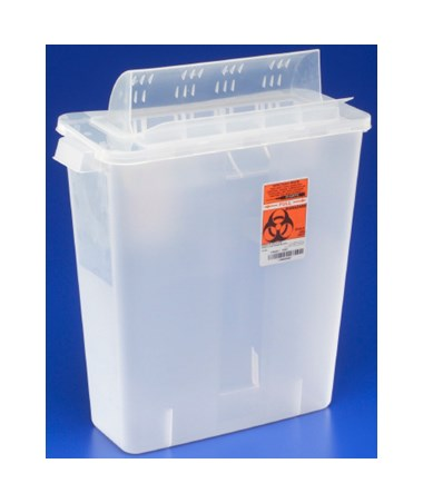 "Sharps Container, Always-Open Lid, 8 Qt, Clear, 11½""H x 6""D x 13¾""W, 10/cs (Continental US Only)"