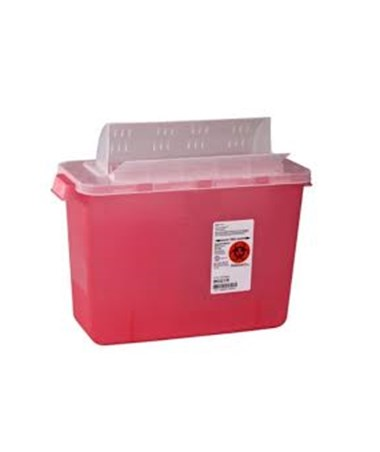 "Sharps Container, Always-Open Lid, 8 Qt, Transparent Red, 11½""H x 6""D x 13¾""W, 10/cs (Continental US Only)"