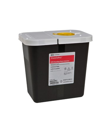 SharpSafety™ RCRA Hazardous Waste Container Hinged Lid with Snap Cap - 20/Cs COV8602RC
