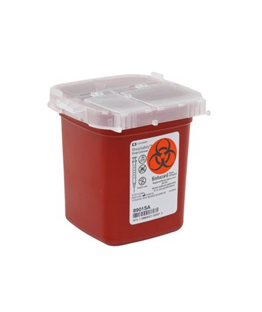 SharpSafety™ Phlebotomy Sharps Container with Autodrop, Red ½ Qt - 100/cs COV8901SA