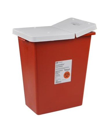 Container, 12 Gal Red, Biomax, Gasketed Hinged Lid, 10/cs (Continental US Only)