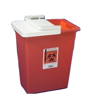 Container, 8 Gal Red, Biomax, Hinged Lid, 10/cs (Continental US Only)