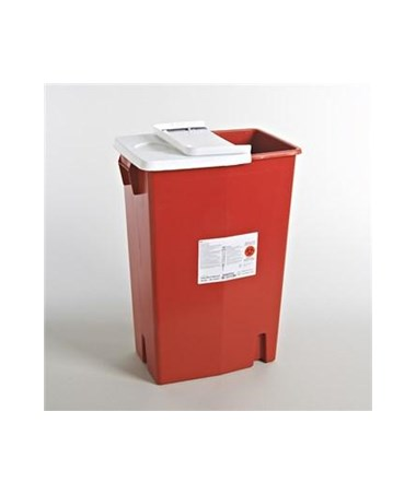 Container, 18 Gal Red, Biomax, Gasketed Hinged Lid, 5/cs (Continental US Only)