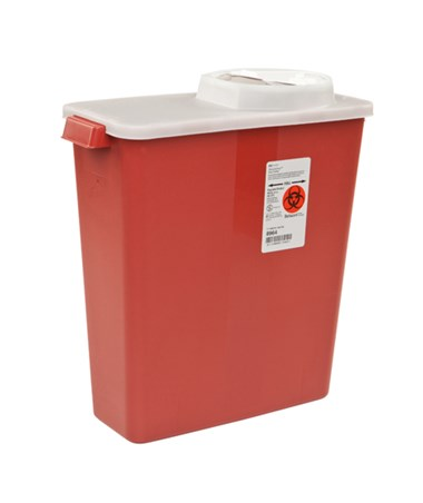 Sharps Container, Rotor & Hinged Transparent Lid, 3 Gallon, Red, 20/cs (Continental US Only)