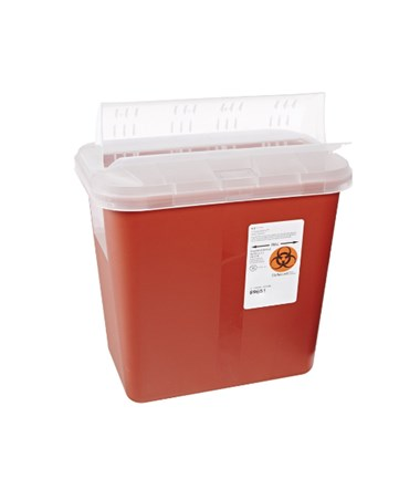 "Sharps Container, 2 Gal, Lid, Red, 12¾""H x 7¼""D x 10½""W, 20/cs (Continental US Only)"