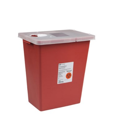 "Container, 12 Gal, Large Volume Red, Hinged Lid, 18¾""H x 12¾""D x 18¼""W, 10/cs (12 cs/plt) (Continental US Only)"