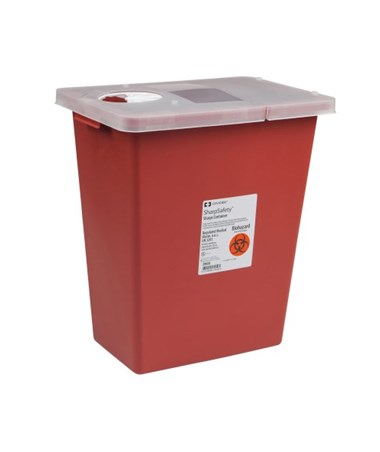 Container, 8 Gal Red, Hinged lid, 10/cs (18 cs/plt) (Continental US Only)