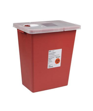 Container, 18 Gal Red, Hinged Lid, 5/cs (Continental US Only)