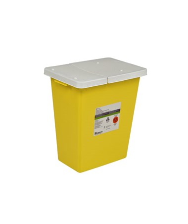 "Sharps Container, 12 Gal, Yellow, Hinged Lid, 18¾""H x 12¾""D x 18¼""W, 10/cs (Continental US Only)"
