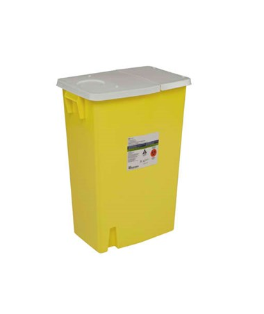 "Sharps Container, 18 Gal, Yellow, Hinged Lid, 26""H x 12¾""D x 18¼""W, 5/cs (7 cs/plt) (Continental US Only)"