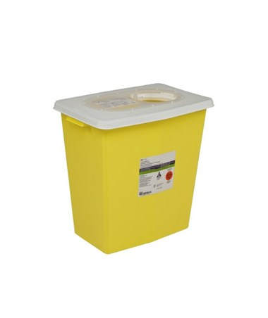 "Sharps Container, 8 Gal, Yellow, Hinged Lid, 17¾""H x 11""D x 15½5""W, 10/cs (Continental US Only)"