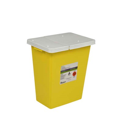 Sharps Container, 18 Gal, Yellow, Hinged Lid, PG II Rated, 5/cs (14 cs/plt) (Continental US Only)