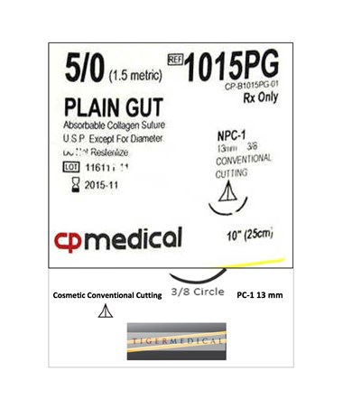 Plain Gut Absorbable Sutures with Precision  Cosmetic Conventional Cutting Needles, 3/8 Circle, 12 per Box CPM1015PG