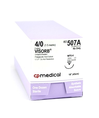 CP Medical VISORB® PGA Synthetic Absorbable Sutures with Precision Reverse Cutting Needles, 1/2 Circle, 12 per Box Copy CPM507A