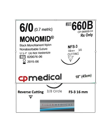 Monomid® Non-Absorbable Sutures with Reverse Cutting FS-3 Needles, 3/8 Circle Size 6-0, 12 per Box CPM660B