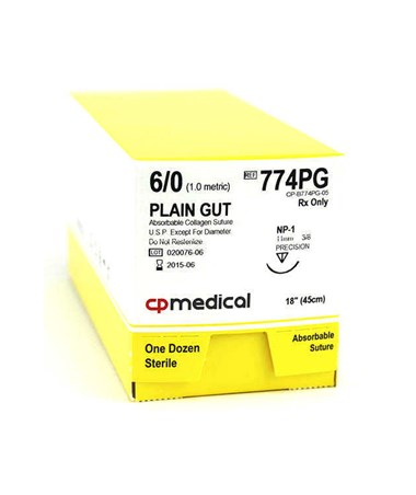 CP Medical Plain Gut Absorbable Sutures with Precision Reverse Cutting Needles, 3/8 Circle, 12 per Box CPM774PG