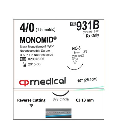 Monomid® Non-Absorbable Sutures with Reverse Cutting Needles, Size 4-0, 3/8 Circle, 12 per Box CPM931B