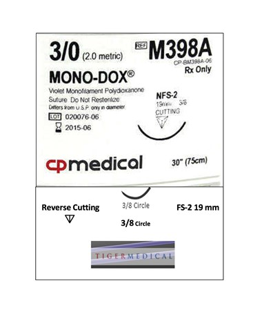 Mono-Dox® Monofilament PDO Synthetic Absorbable Sutures with Reverse Cutting Needles, 3/8 Circle, 12 per Box CPMM398