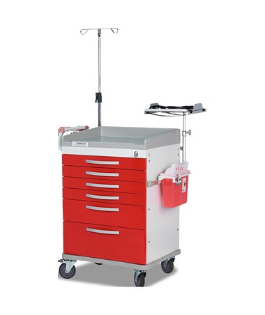 Whisper Series Emergency Room Medical Cart, Red DETWC33669RED