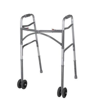 """Drive 10118SV Heavy Duty Bariatric Walker Wheels, Silver vein"""