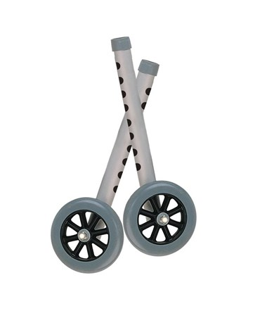 """Drive 10128 5"" Walker Wheels with Two Sets of Rear Glides, Gray """